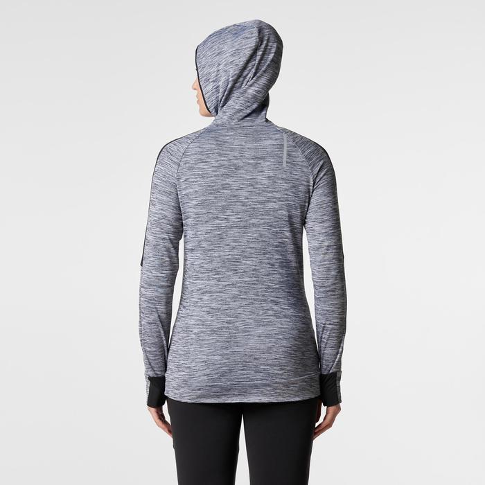 Laufshirt langarm Run Warm Hood Damen grau meliert