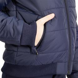 Warme jas 500 WARM ruitersport voor kinderen marineblauw/roze