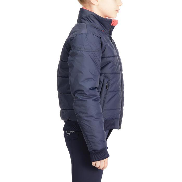 Warme jas ruitersport voor kinderen 500 Warm marineblauw/roze