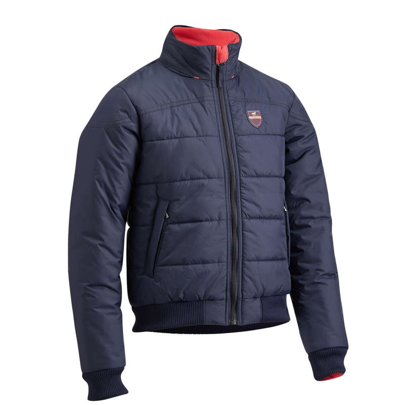 COLD WEATHER JR RIDING JACKETS Horse Riding - 500 Warm Anorak - Navy/Pink FOUGANZA - Horse Riding