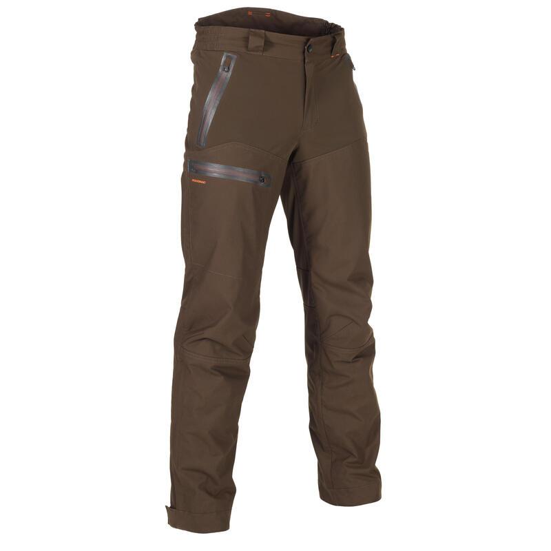 Pantalon chasse imperméable renfort marron 900
