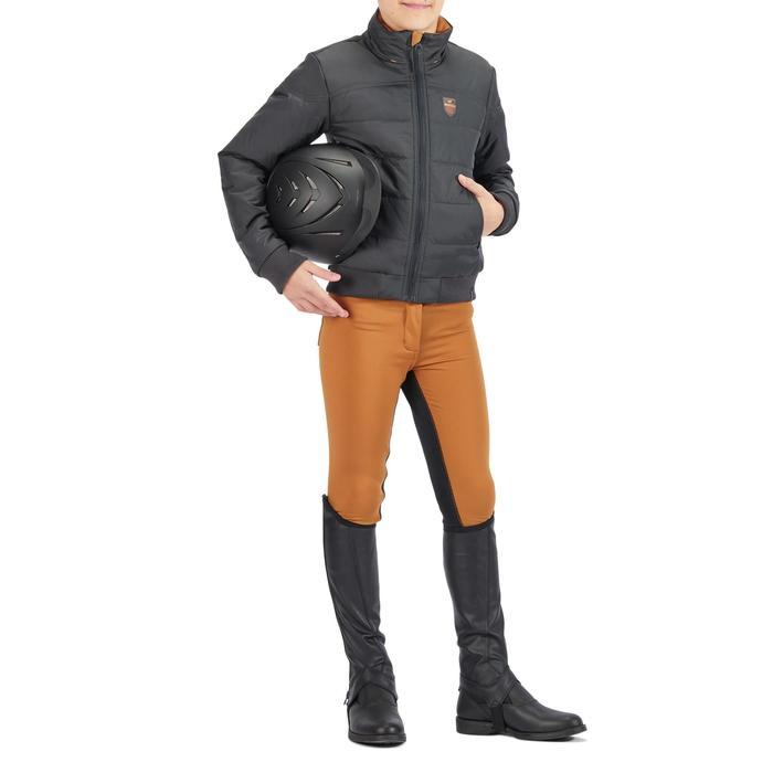 Warme kinderjas ruitersport 500 WARM grijs/camel