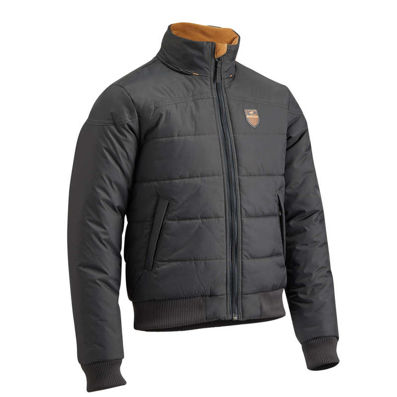 COLD WEATHER JR RIDING JACKETS Horse Riding - 500 Warm Anorak - Grey/Camel FOUGANZA - Horse Riding
