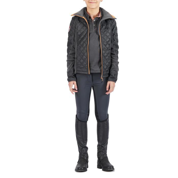 Pantalon chaud équitation enfant ACCESSY fond de peau gris foncé - 1345935