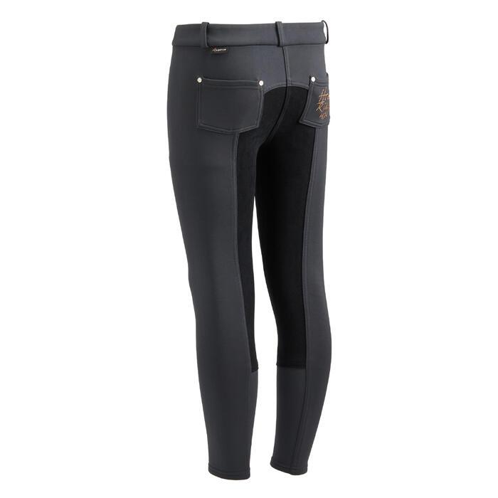 Pantalon chaud équitation enfant ACCESSY fond de peau gris foncé - 1345936