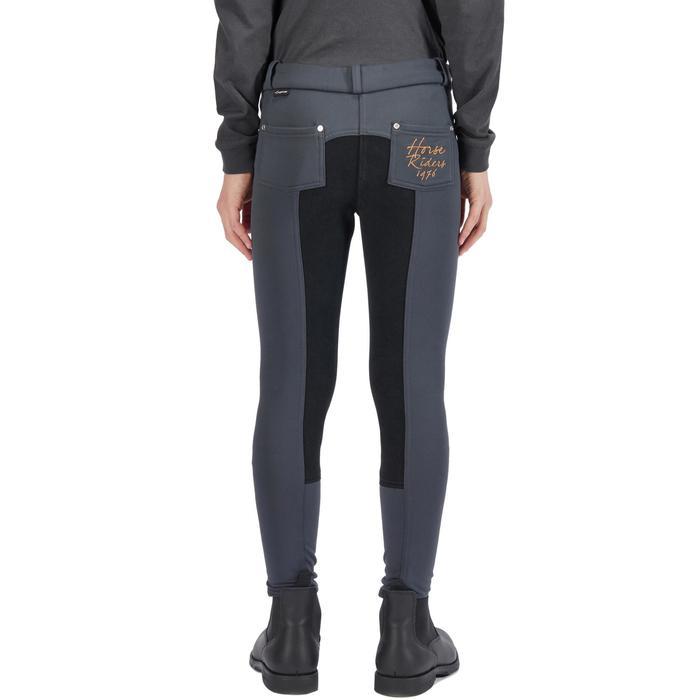 Pantalon chaud équitation enfant ACCESSY fond de peau gris foncé - 1345938