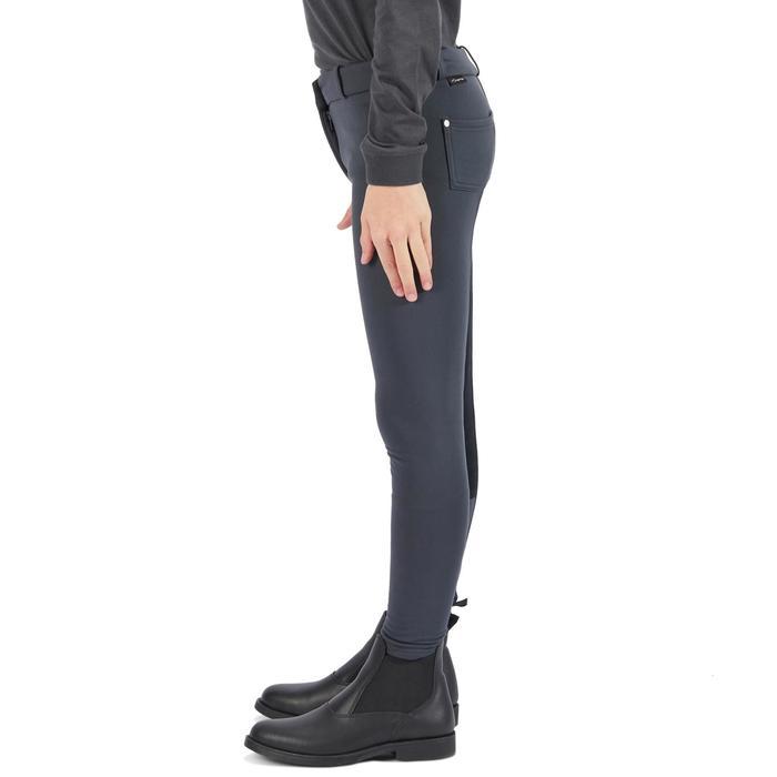 Pantalon chaud équitation enfant ACCESSY fond de peau gris foncé - 1345942