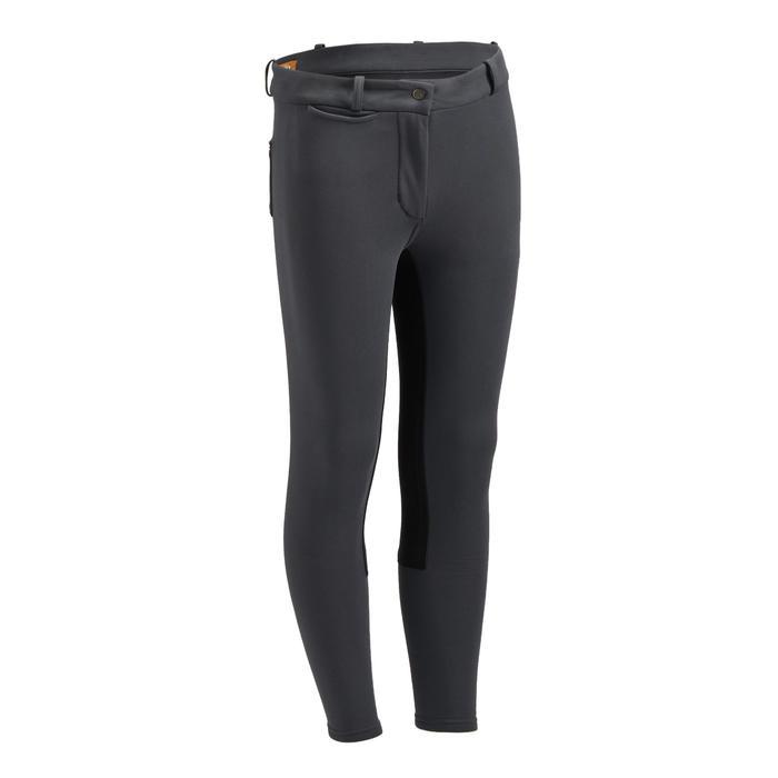 Pantalon chaud équitation enfant ACCESSY fond de peau gris foncé - 1345943