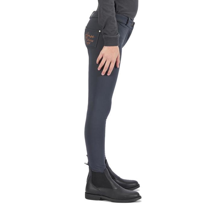 Pantalon chaud équitation enfant ACCESSY fond de peau gris foncé - 1345945