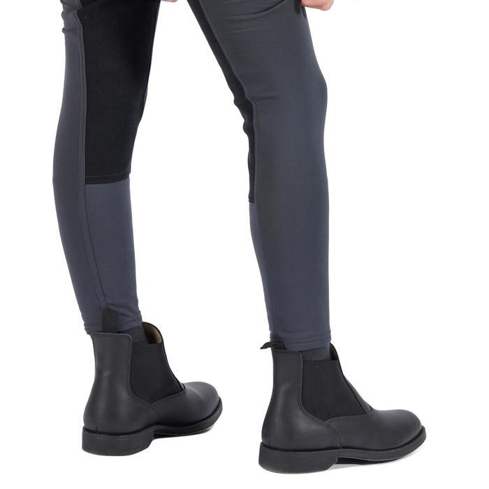 Pantalon chaud équitation enfant ACCESSY fond de peau gris foncé - 1345946
