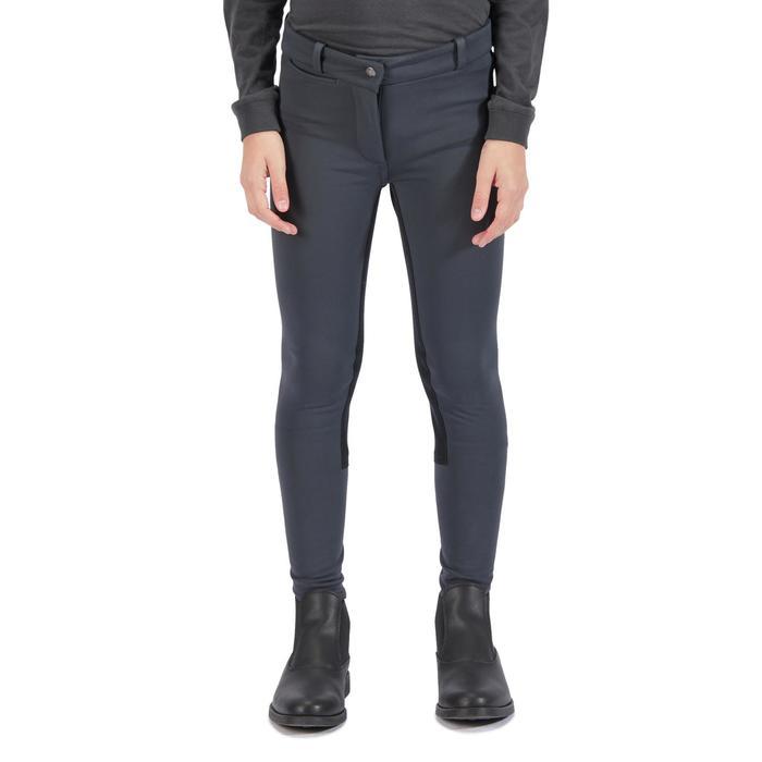 Pantalon chaud équitation enfant ACCESSY fond de peau gris foncé - 1345947