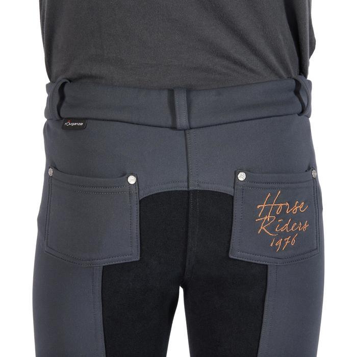 Pantalon chaud équitation enfant ACCESSY fond de peau gris foncé - 1345949