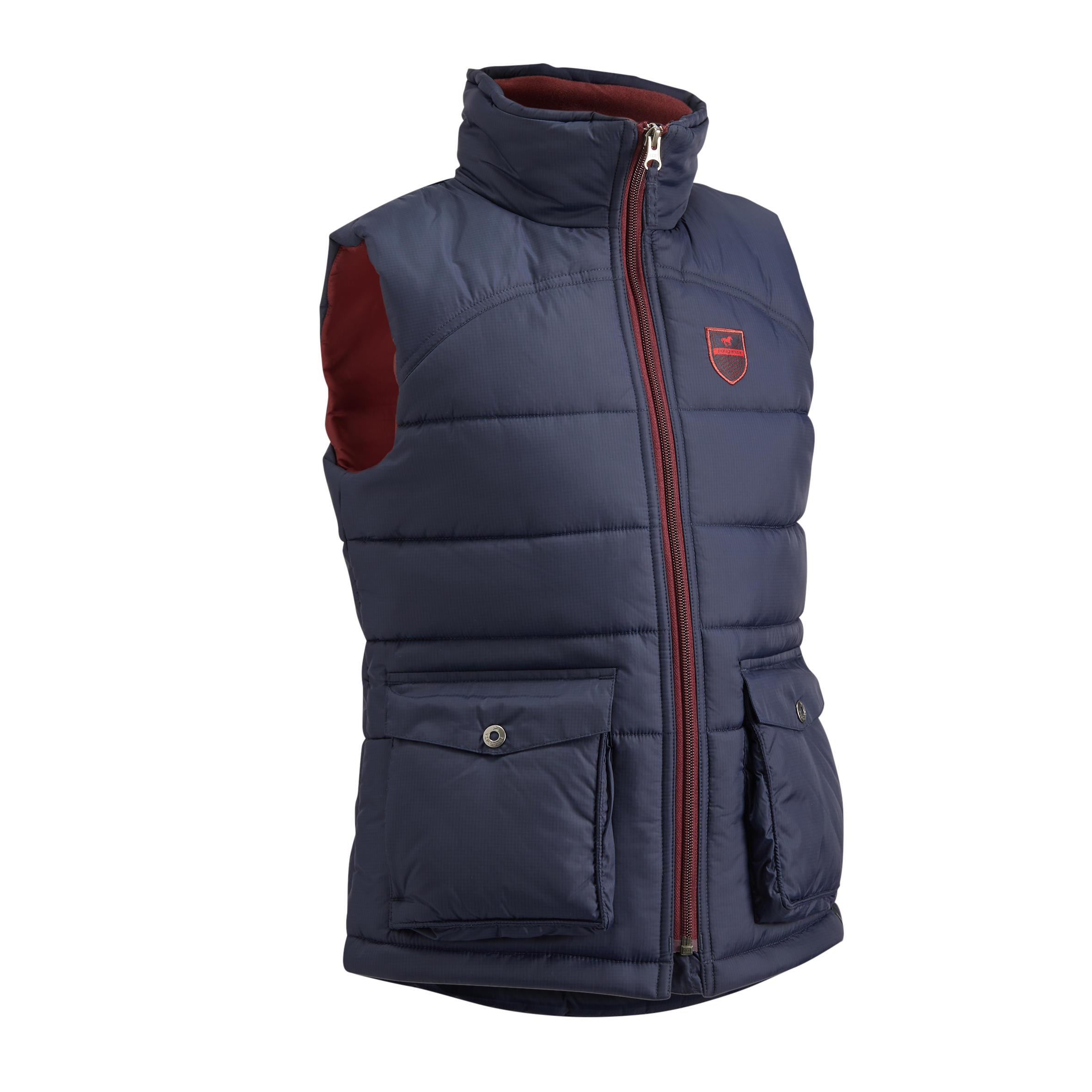 Jungen,Kinder,Kinder Winter-Reitweste 500 Warm Kinder marineblau bordeaux   03583788102427