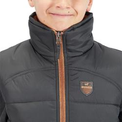 500 Warm Kids' Horse Riding Sleeveless Gilet - Grey/Camel