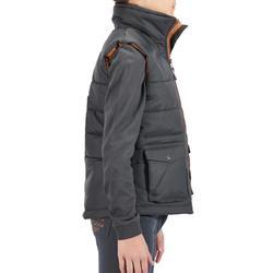 兒童馬術保暖背心500–灰色/駝色