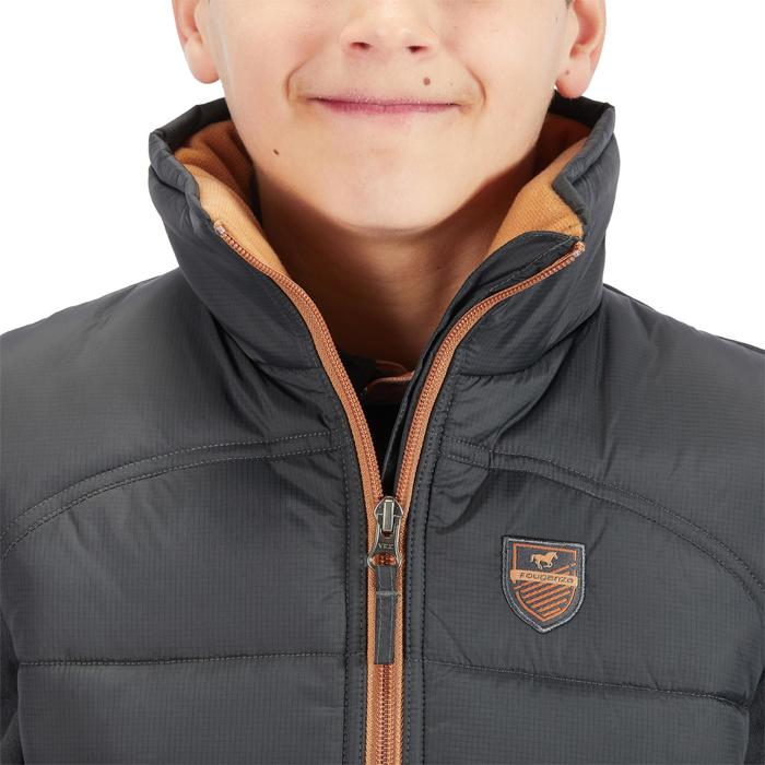 Bodywarmer 500 WARM ruitersport voor kinderen grijs/camel