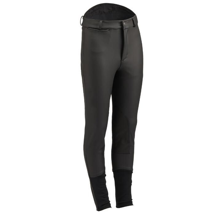Pantalón cálido impermeable y transpirable equitación niño KIPWARM negro
