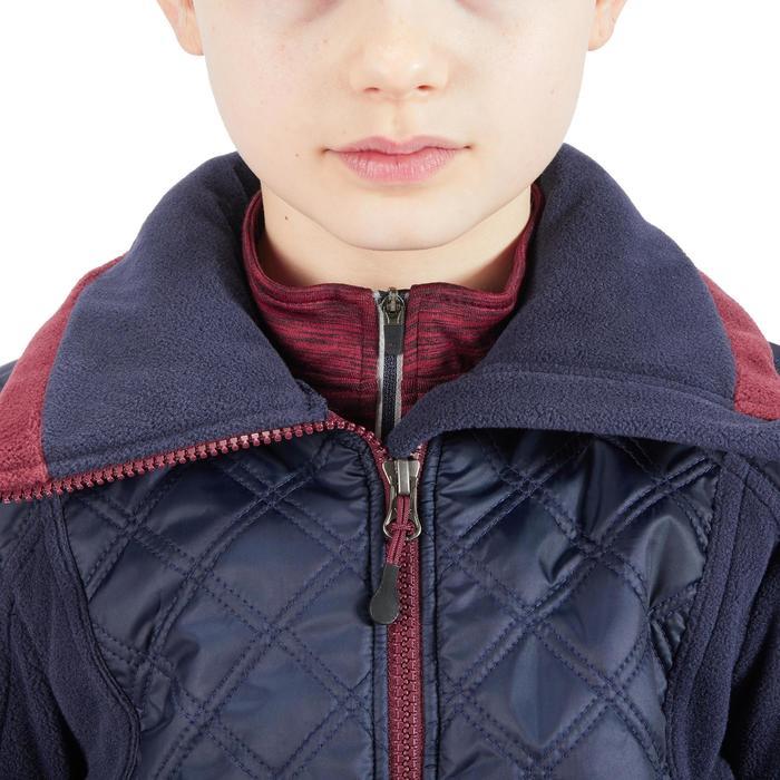 Kinderfleece in 2 materialen ruitersport Paddock marineblauw/bordeaux