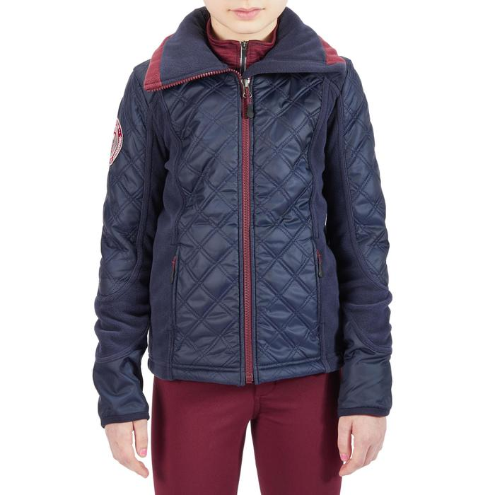 Fleecejacke 500 Warm Bi-Material Kinder marineblau/bordeaux