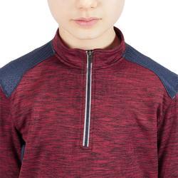 Reit-Poloshirt 500 Langarm warm Kinder bordeaux