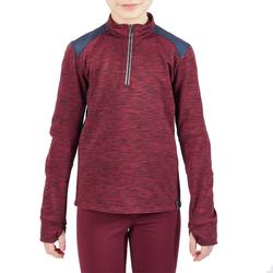 Warme kinderpolo met lange mouwen ruitersport 500 WARM bordeaux