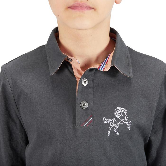 Jongenspolo met lange mouwen ruitersport 140 Boy donkergrijs