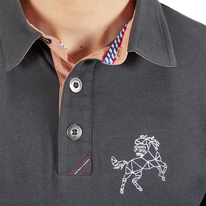 Reit-Poloshirt Langarm 140 Boy Kinder dunkelgrau