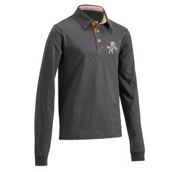 140 Boys' Horseback Riding Long-Sleeved Polo Shirt - Dark Grey