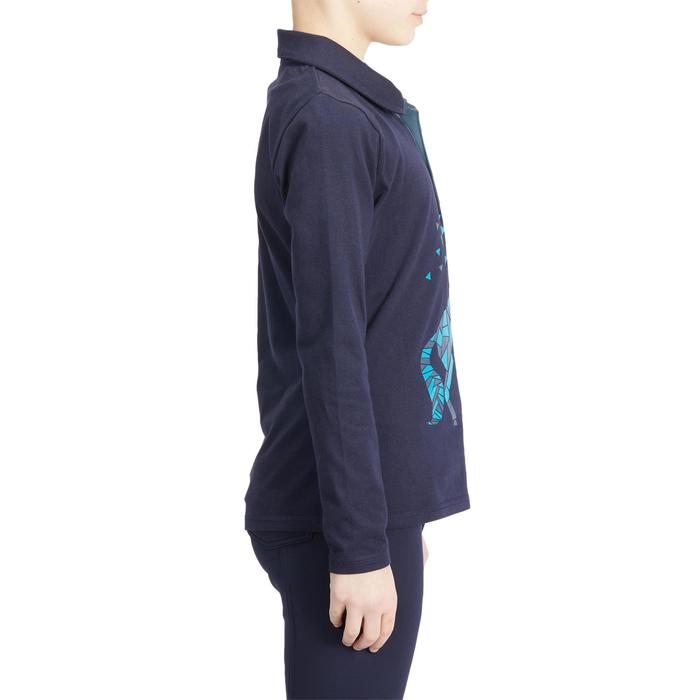 Polo lange mouwen ruitersport meisjes 140 GIRL marineblauw/turquoise