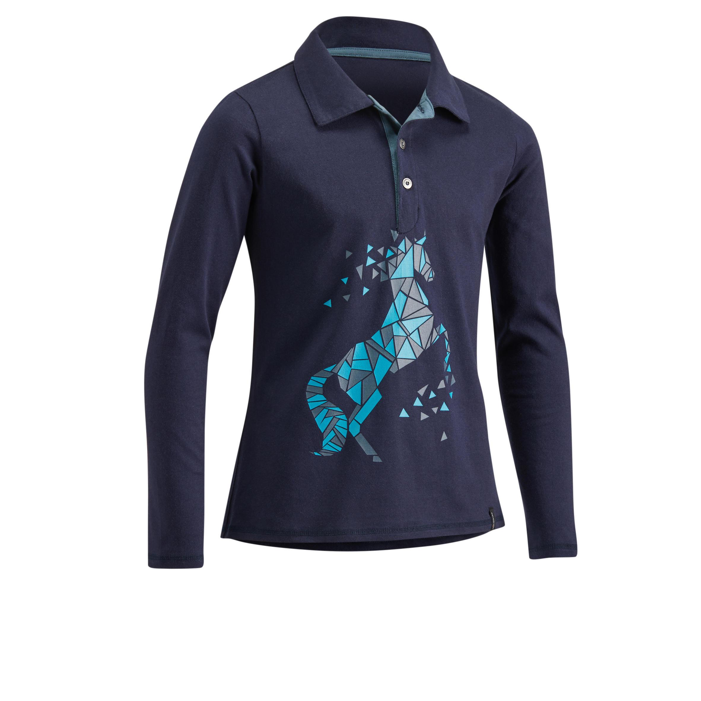 Fouganza Polo lange mouwen ruitersport meisjes 140 GIRL marineblauw/turquoise