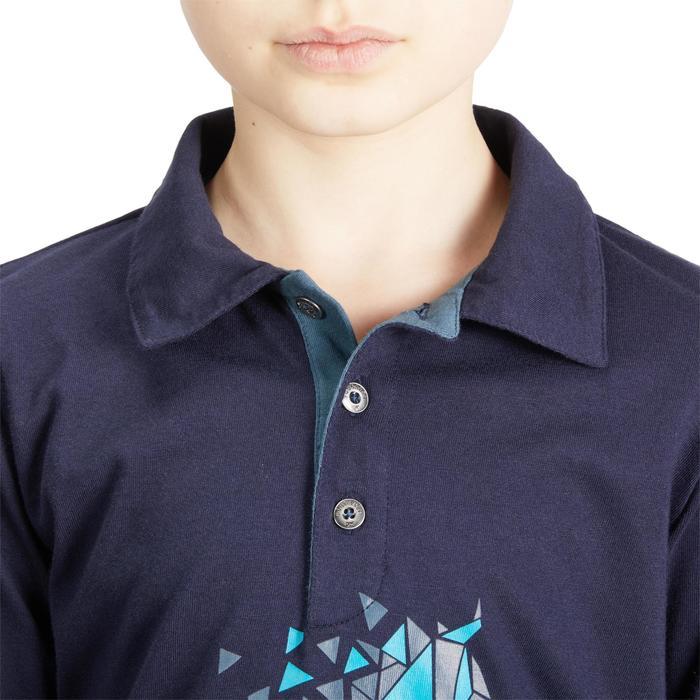 Poloshirt voor paardrijden meisjes 140 lange mouwen marineblauw en turquoise