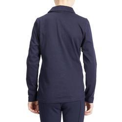 Reit-Poloshirt Langarm 140 Girl Kinder marineblau/türkis