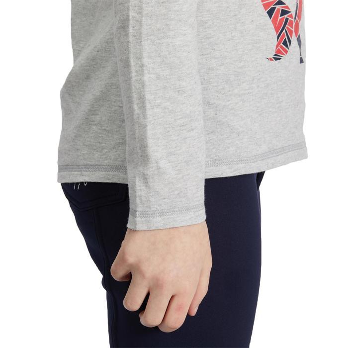 Meisjespolo met lange mouwen ruitersport 140 GIRL gemêleerd grijs / roze