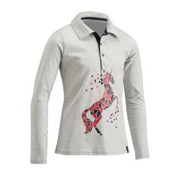 Poloshirt voor paardrijden meisjes 140 lange mouwen gemêleerd grijs en roze
