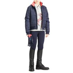 Reit-Poloshirt Langarm 140 Girl Kinder grau meliert/rosa
