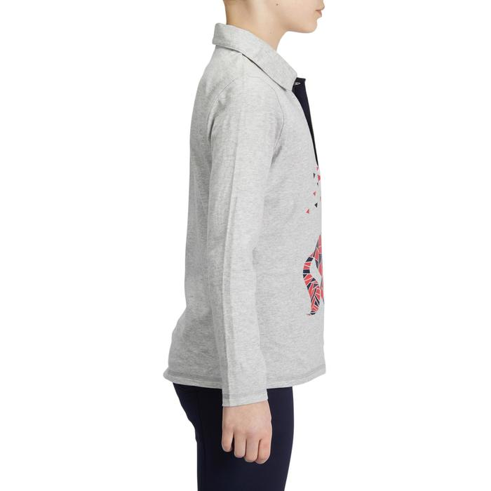 Reit-Poloshirt Langarm 140 Girl Kinder graumeliert/rosa