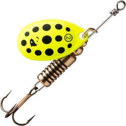 Spinner voor roofvissen Weta + #2 geel zwarte stippen