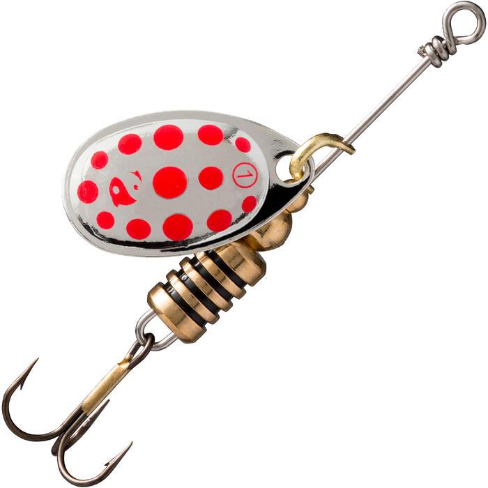 Spinners voor roofvissen Weta #1 zilver rode stippen