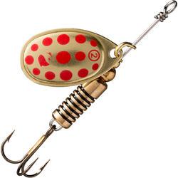 Spinners voor roofvissen Weta #2 goud rode stippen