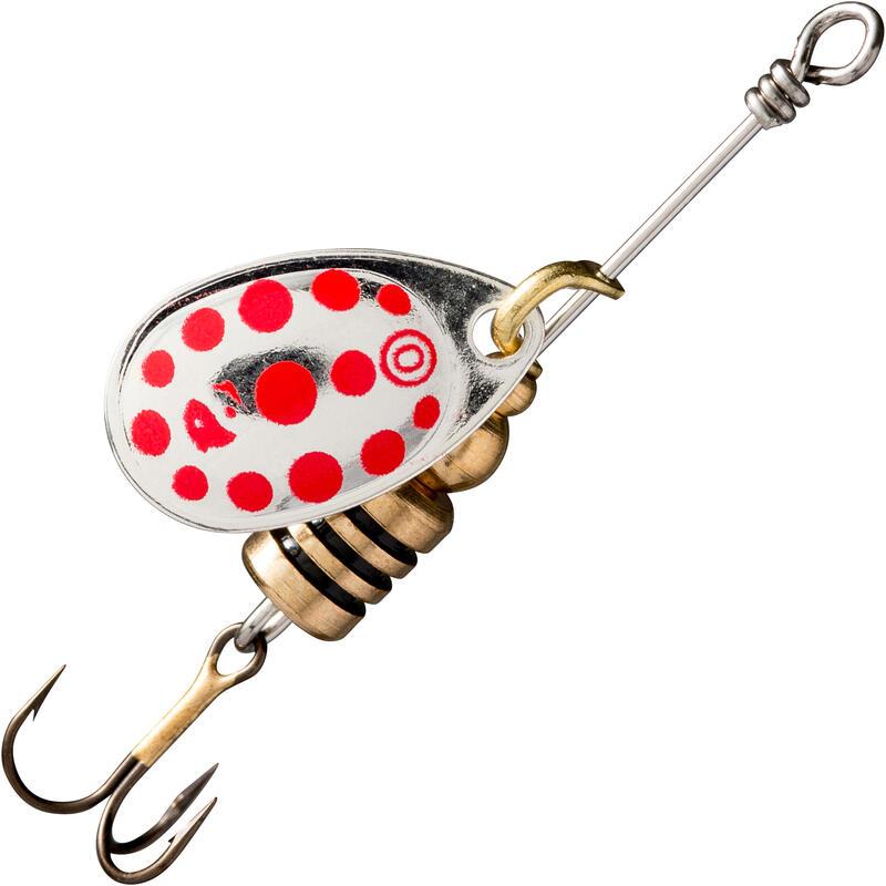 Cucchiaino rotante pesca predatori WETA #0 argento a pois rossi