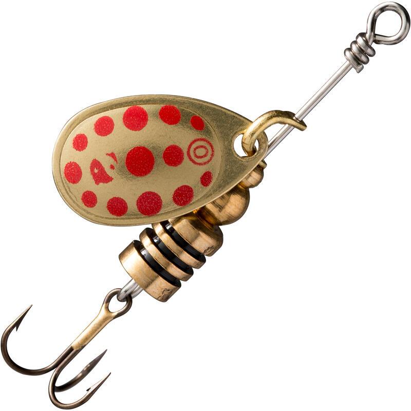 Cucchiaino rotante pesca predatori WETA #0 oro a pois rossi