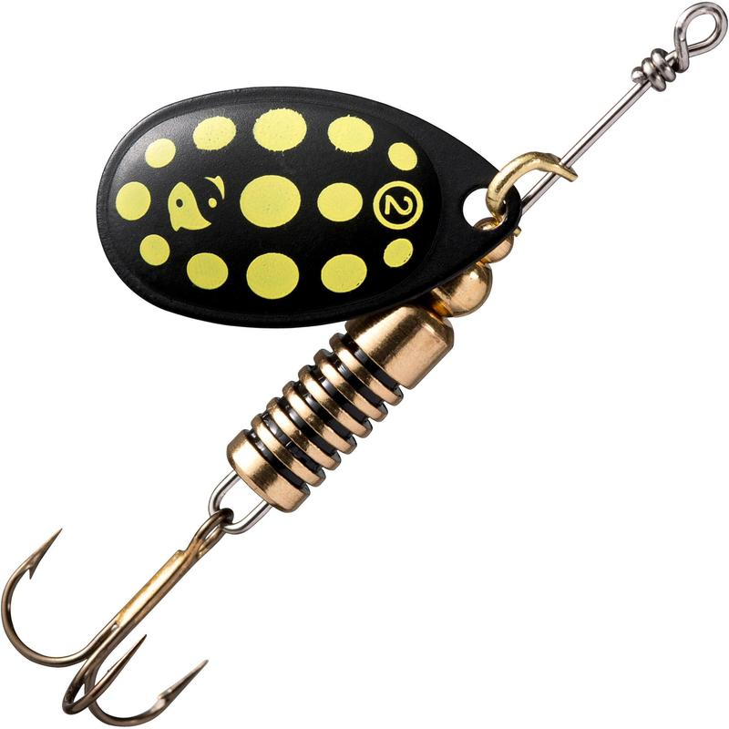 Cucchiaino rotante pesca WETA #2 nero a pois gialli
