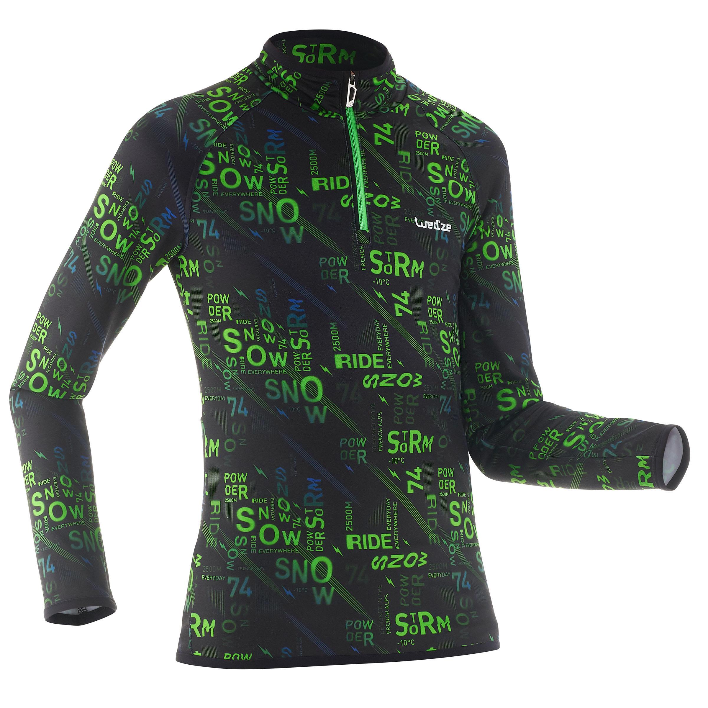 Sous-vêtement de ski enfant Haut Freshwarm 1/2 zip Graph - Wedze