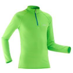 Camiseta Interior Térmica de Esquí Wed'ze Freshwarm Cremallera Niños Verde