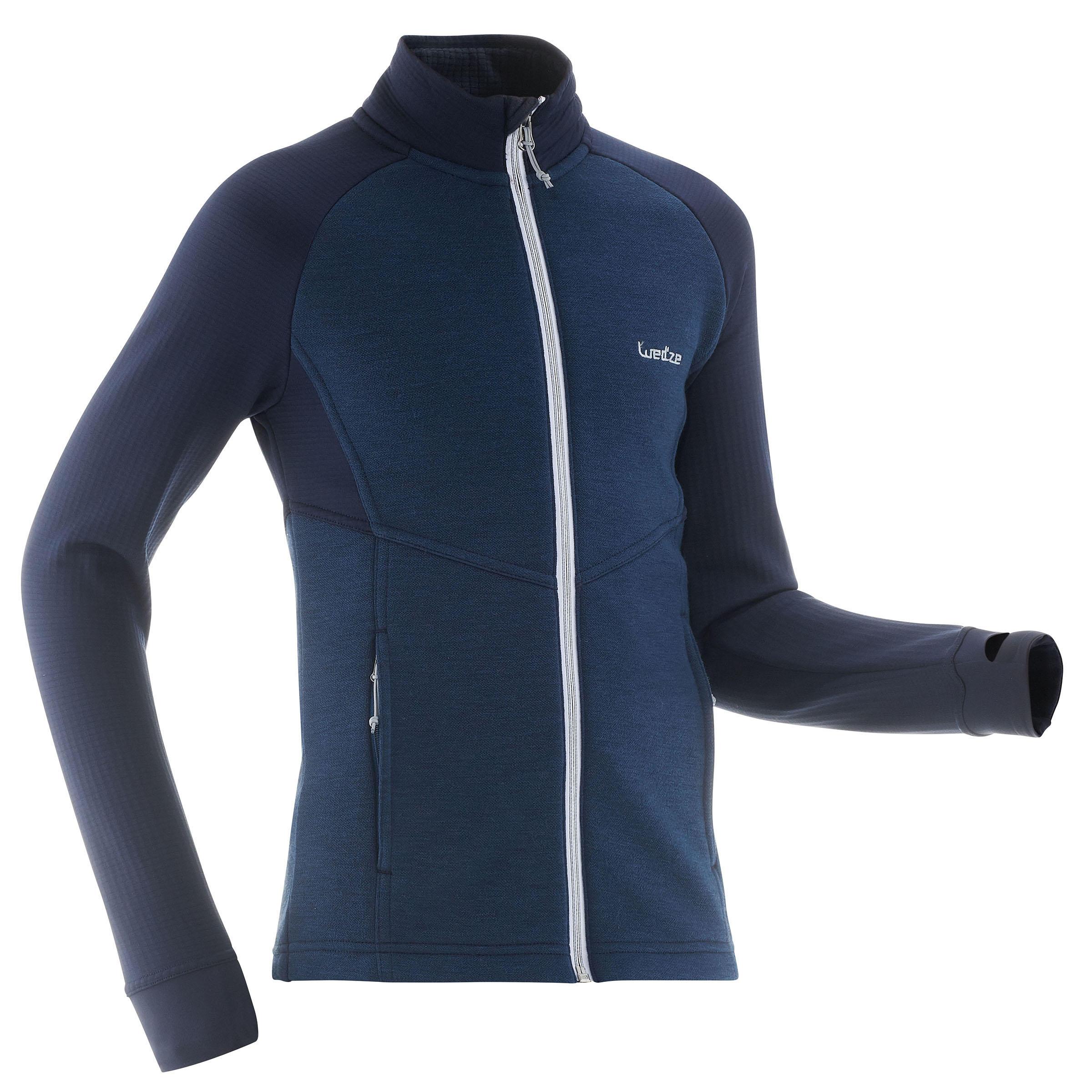 Wed'ze Midlayer voor skiën kinderen Mid Warm 500 blauw