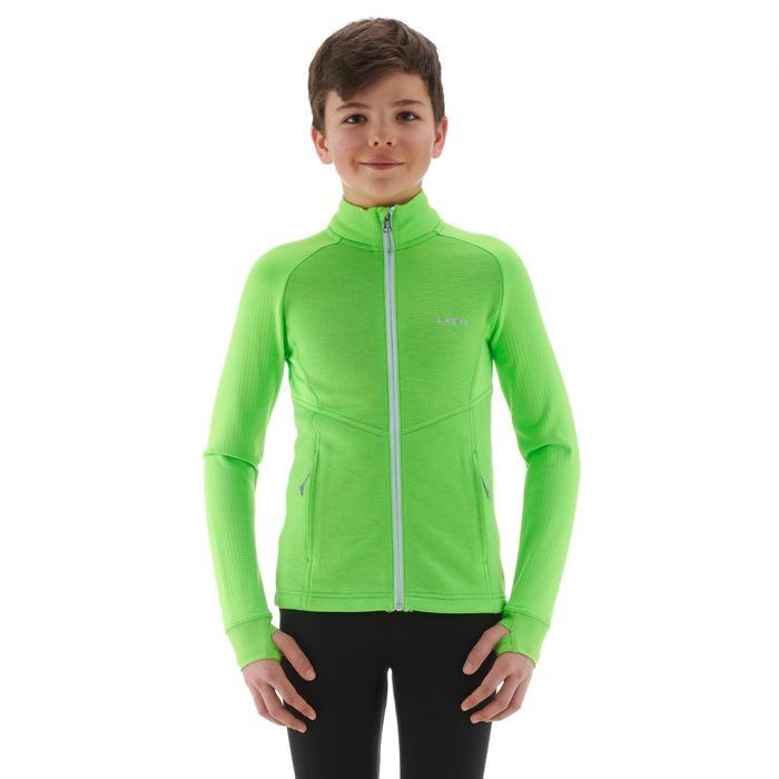 Ski-Unterjacke Mid Warm 500 Kinder grün