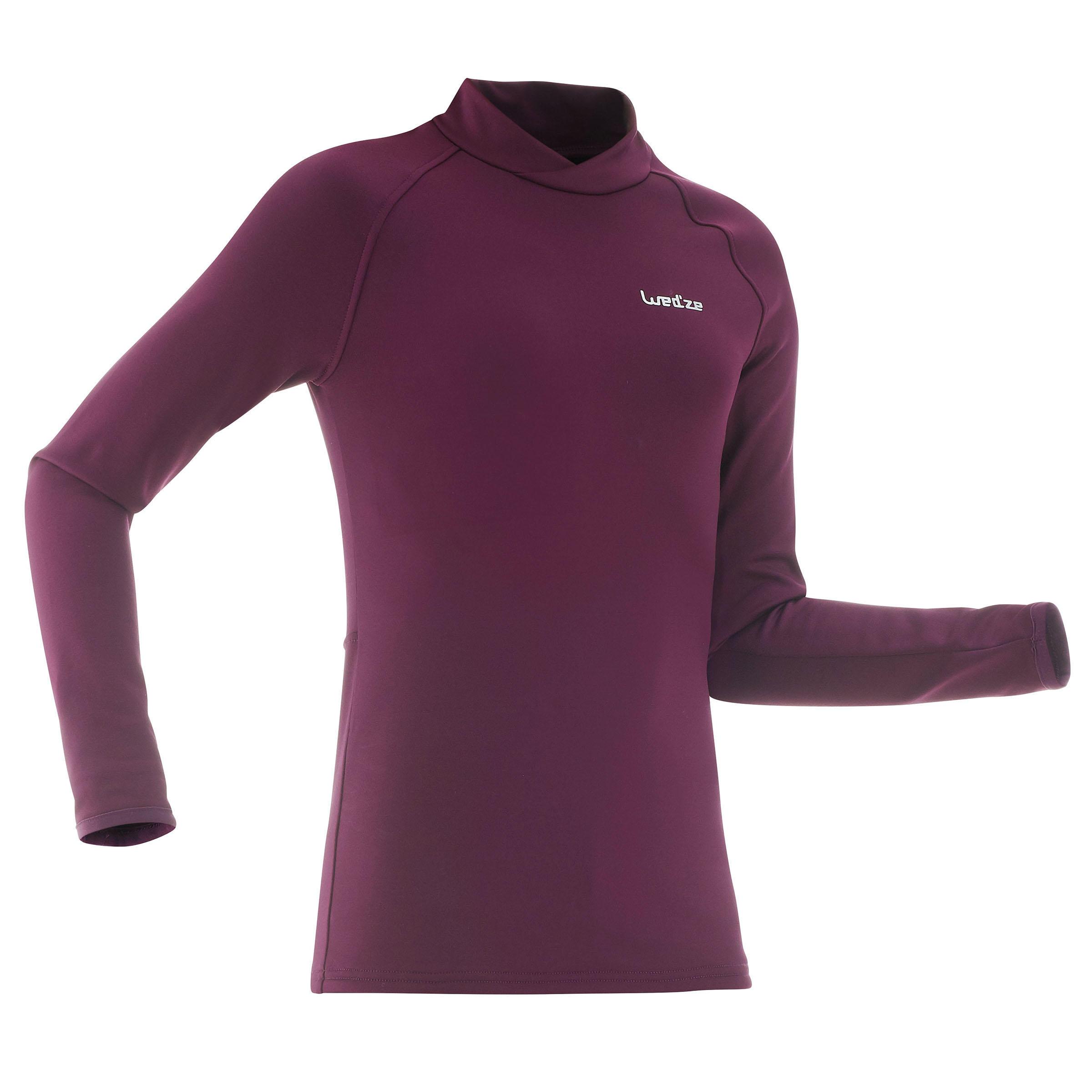 Sous-vêtement de ski enfant Haut Freshwarm prune - Wedze