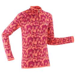 Camiseta Térmica Interior Nieve y Esquí Wed'ze Freshwarm Niños Rosa Cremallera 1