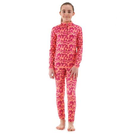 Sous-vêtement de ski enfant Haut Freshwarm 1/2 glissière Rose