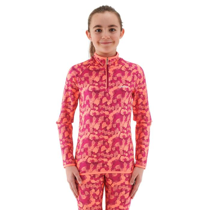 Camiseta térmica esquí y nieve interior Wed'ze Freshwarm cremallera Niños Rosa